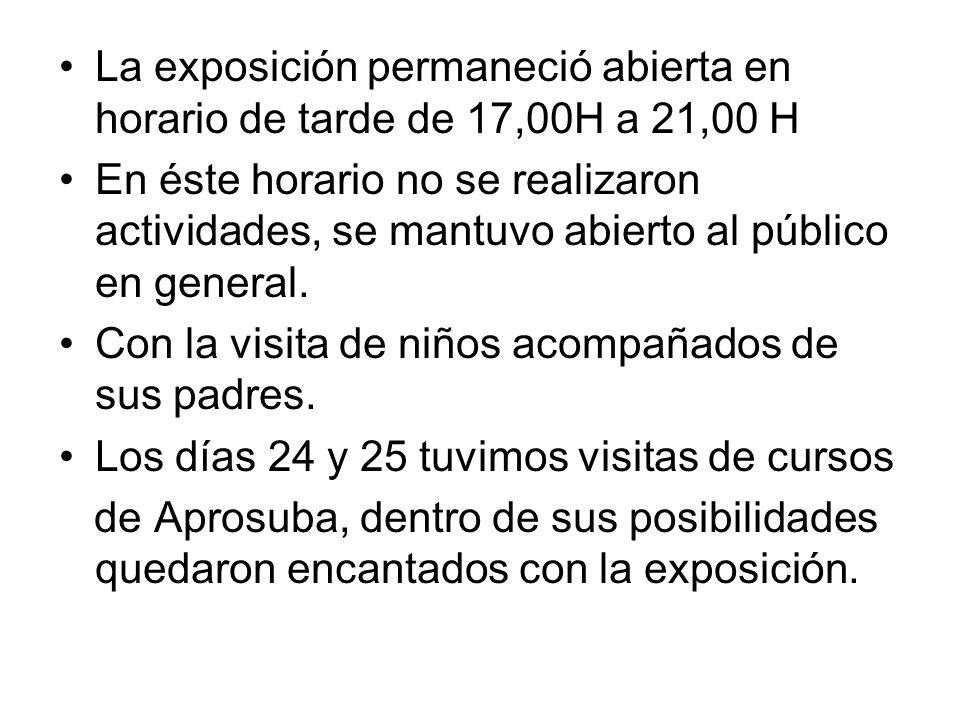 La exposición permaneció abierta en horario de tarde de 17,00H a 21,00 H En éste horario no se realizaron actividades, se mantuvo abierto al público e