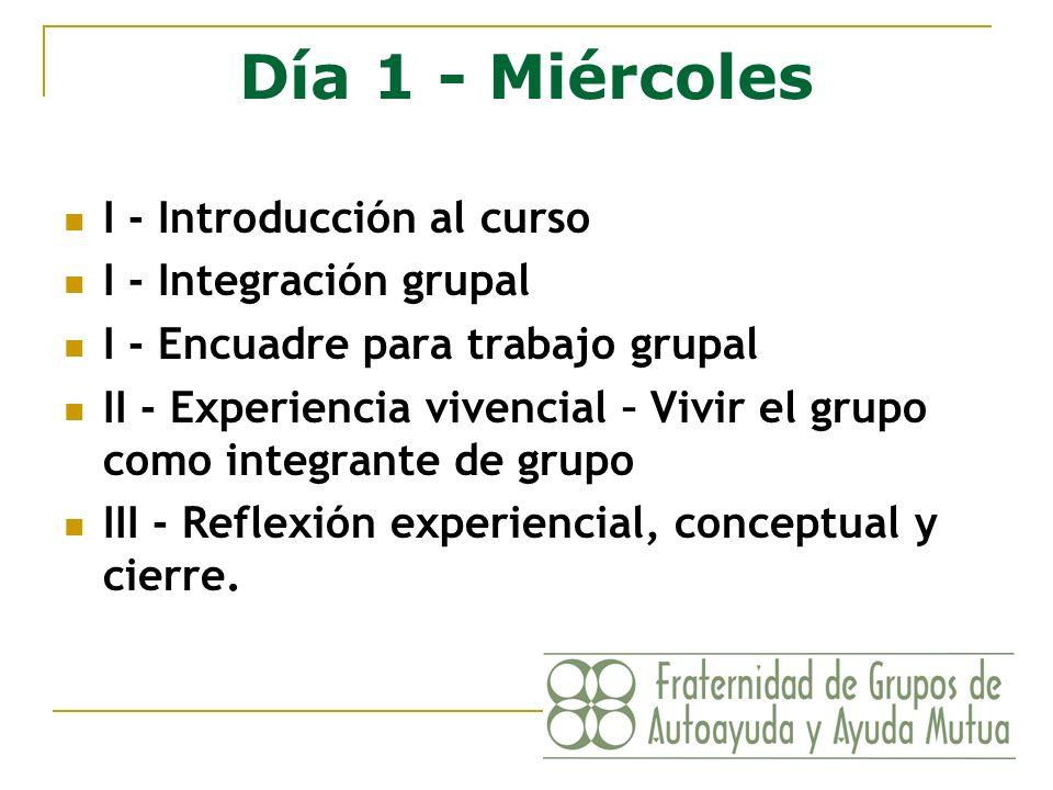 Día 1 - Miércoles I - Introducción al curso I - Integración grupal I - Encuadre para trabajo grupal II - Experiencia vivencial – Vivir el grupo como i
