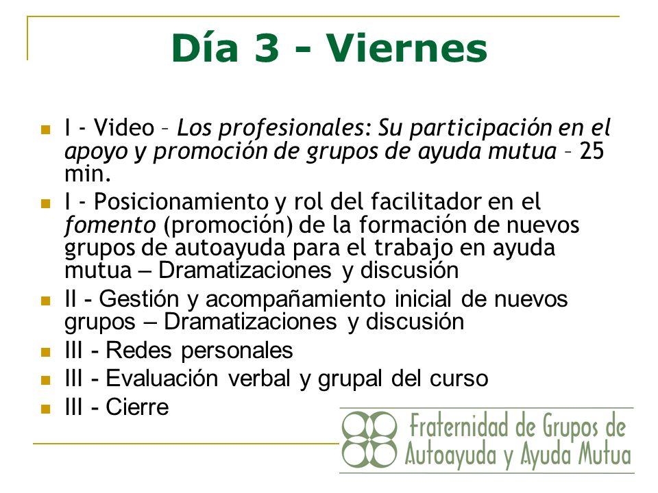 Día 3 - Viernes I - Video – Los profesionales: Su participación en el apoyo y promoción de grupos de ayuda mutua – 25 min. I - Posicionamiento y rol d