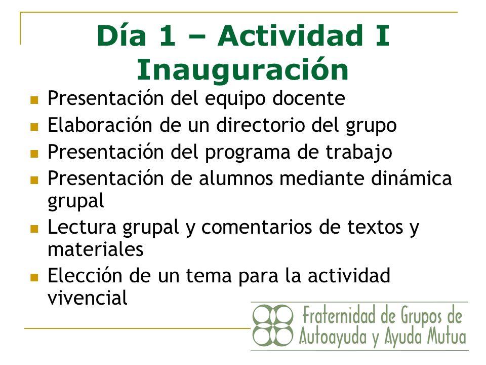 Día 1 – Actividad I Inauguración Presentación del equipo docente Elaboración de un directorio del grupo Presentación del programa de trabajo Presentac