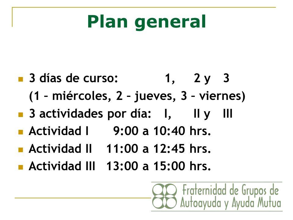 Plan general 3 días de curso:1, 2 y 3 (1 – miércoles, 2 – jueves, 3 – viernes) 3 actividades por día:I, II y III Actividad I 9:00 a 10:40 hrs. Activid
