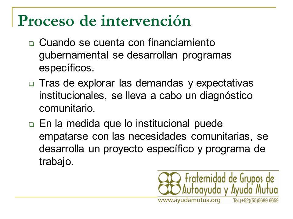 Proceso de intervención Cuando se cuenta con financiamiento gubernamental se desarrollan programas específicos.