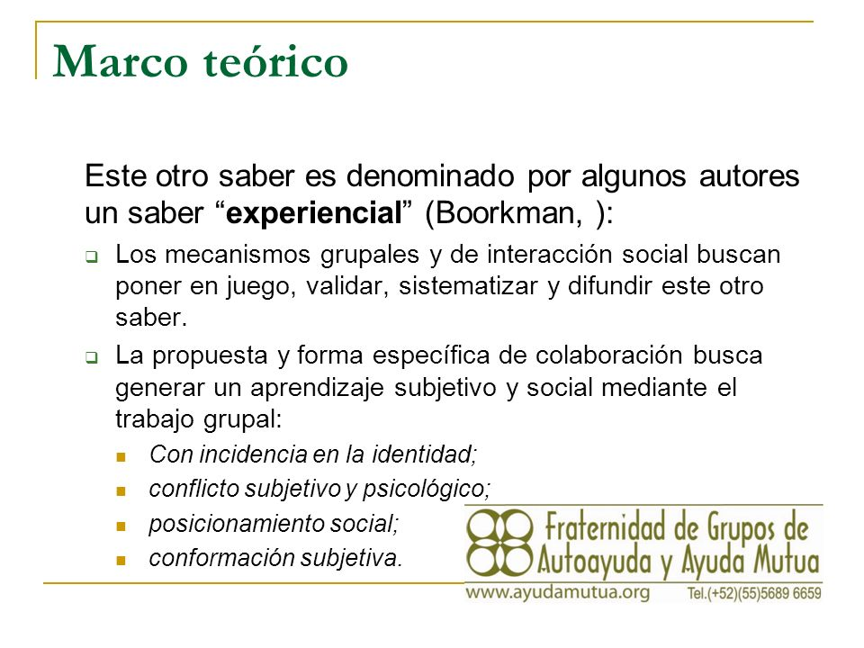 Investigación y diagnóstico La investigación sobre grupos de autoayuda y procesos de ayuda mutua se reporta, entre otros en el International Journal of Self-Help and Self Care (Baywood Publications, EEUU).