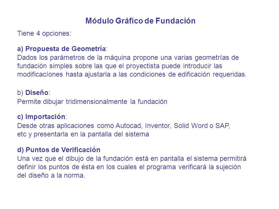Módulo Gráfico de Fundación Tiene 4 opciones: a) Propuesta de Geometría: b) Diseño: c) Importación: Una vez que el dibujo de la fundación está en pant