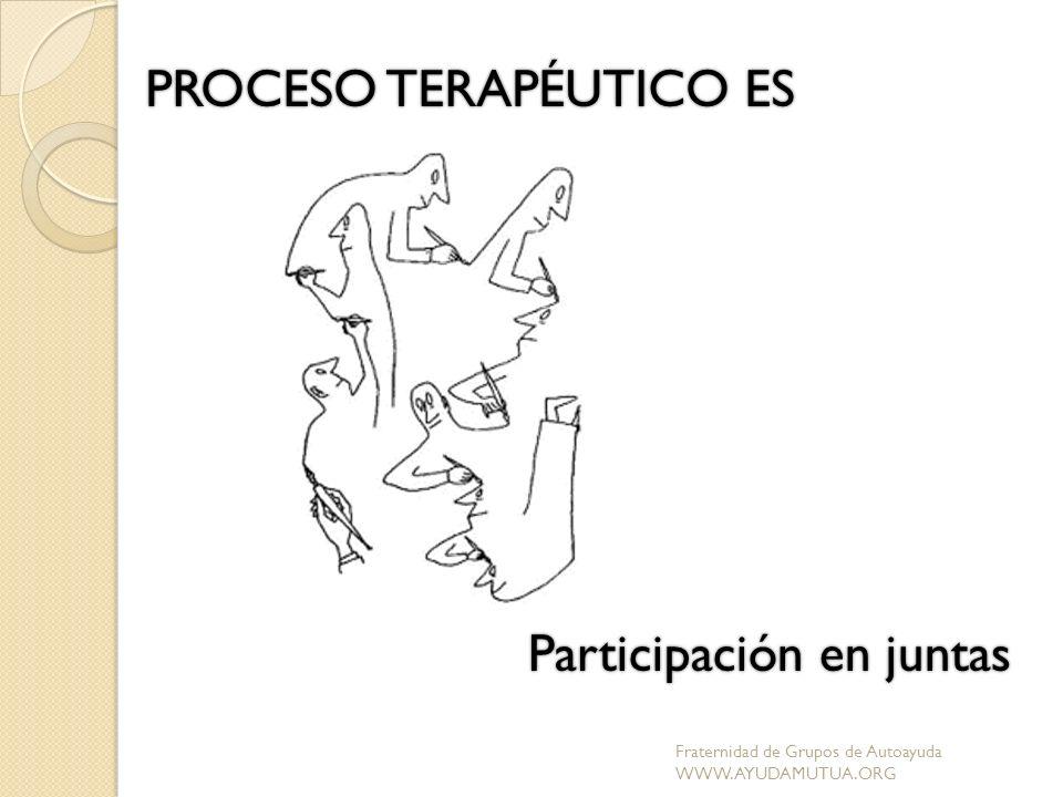 PROCESO TERAPÉUTICO ES Participación en juntas Fraternidad de Grupos de Autoayuda WWW.AYUDAMUTUA.ORG