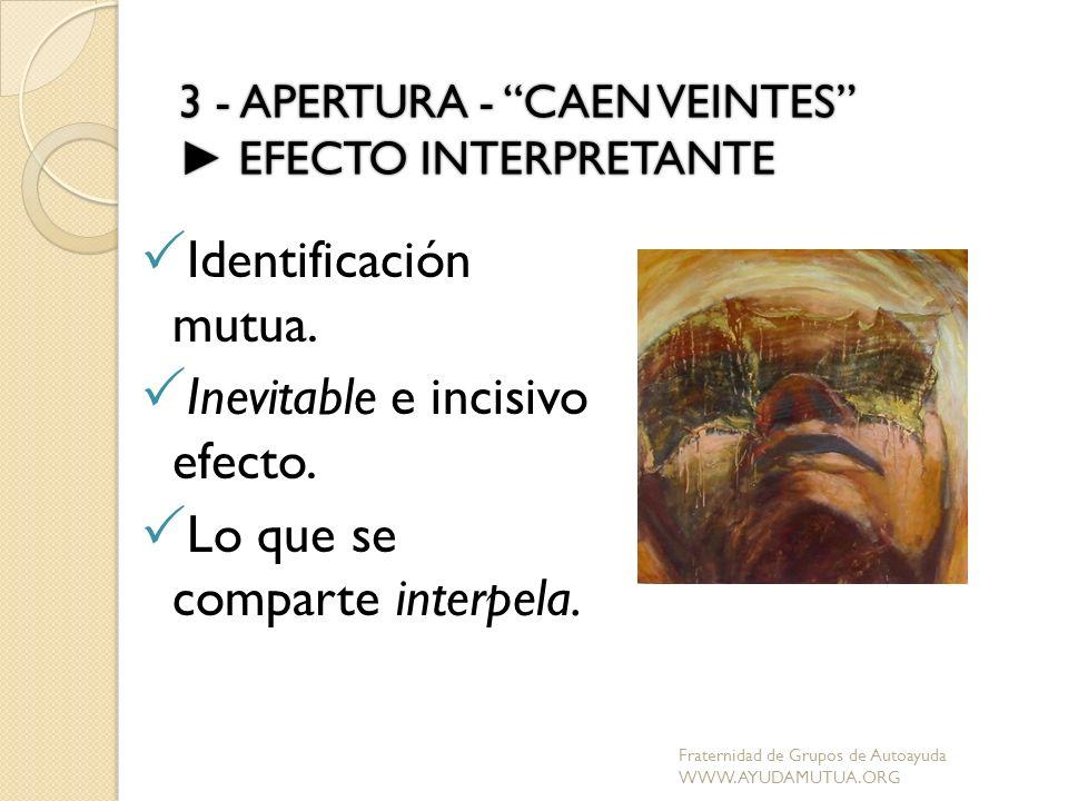 3 - APERTURA - CAEN VEINTES EFECTO INTERPRETANTE Identificación mutua. Inevitable e incisivo efecto. Lo que se comparte interpela. Fraternidad de Grup