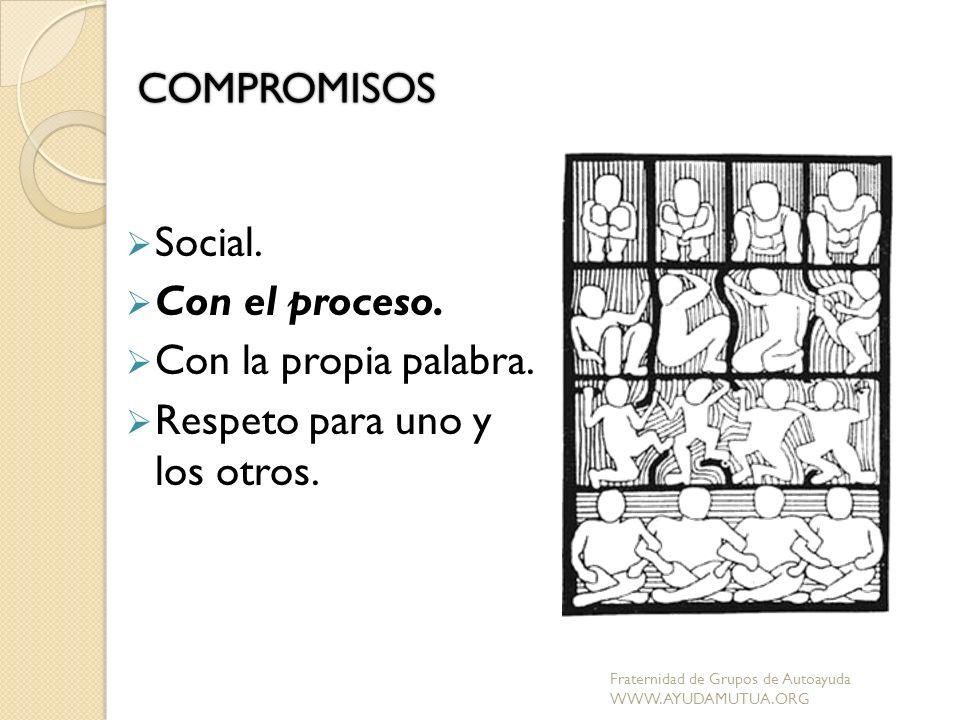 COMPROMISOS Social. Con el proceso. Con la propia palabra. Respeto para uno y los otros. Fraternidad de Grupos de Autoayuda WWW.AYUDAMUTUA.ORG