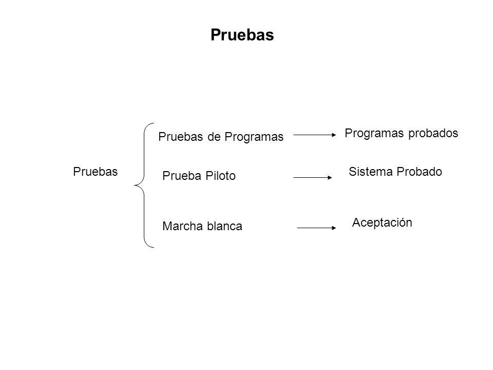 Pruebas Pruebas de Programas Prueba Piloto Marcha blanca Programas probados Sistema Probado Aceptación