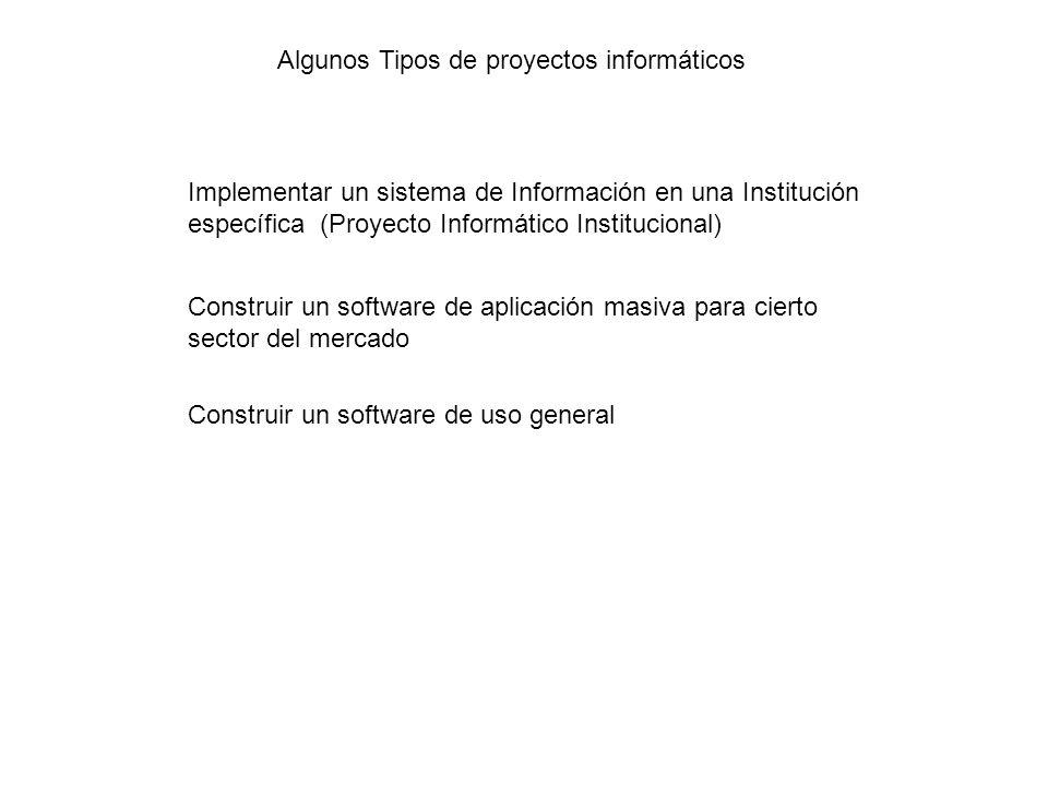 Implementar un sistema de Información en una Institución específica (Proyecto Informático Institucional) Construir un software de aplicación masiva pa