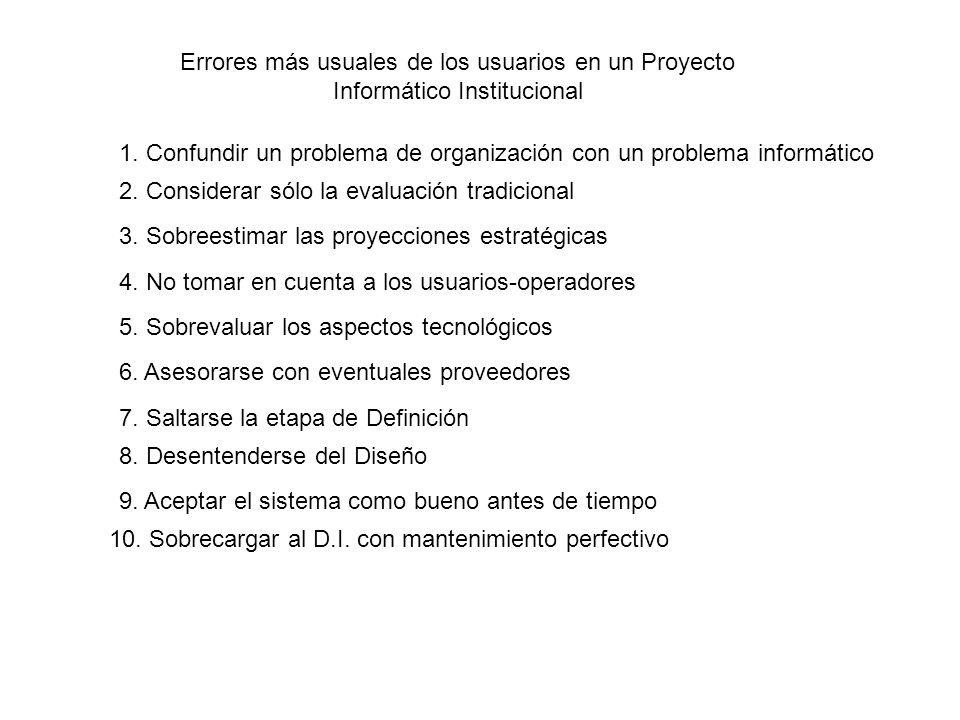Errores más usuales de los usuarios en un Proyecto Informático Institucional 2. Considerar sólo la evaluación tradicional 3. Sobreestimar las proyecci