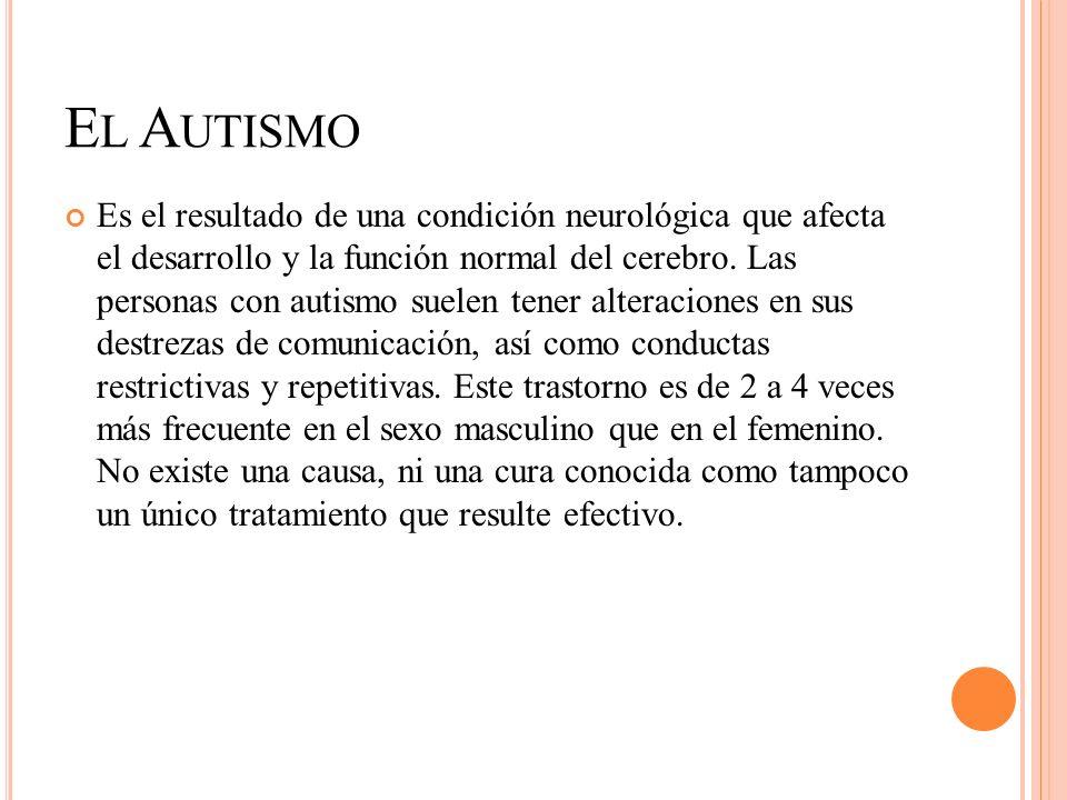 E L A UTISMO Es el resultado de una condición neurológica que afecta el desarrollo y la función normal del cerebro. Las personas con autismo suelen te