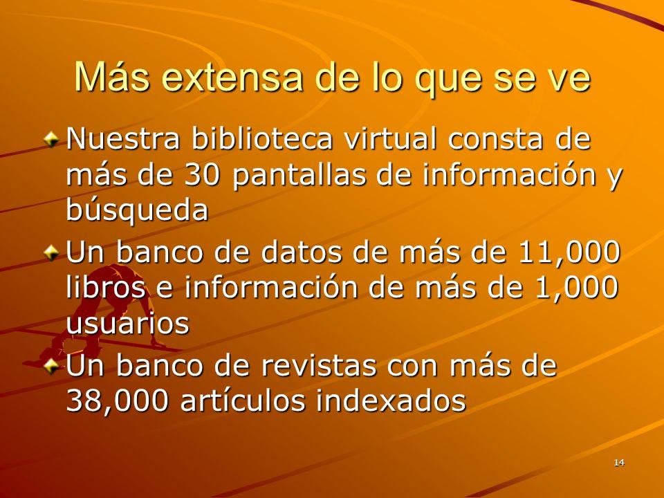14 Más extensa de lo que se ve Nuestra biblioteca virtual consta de más de 30 pantallas de información y búsqueda Un banco de datos de más de 11,000 libros e información de más de 1,000 usuarios Un banco de revistas con más de 38,000 artículos indexados