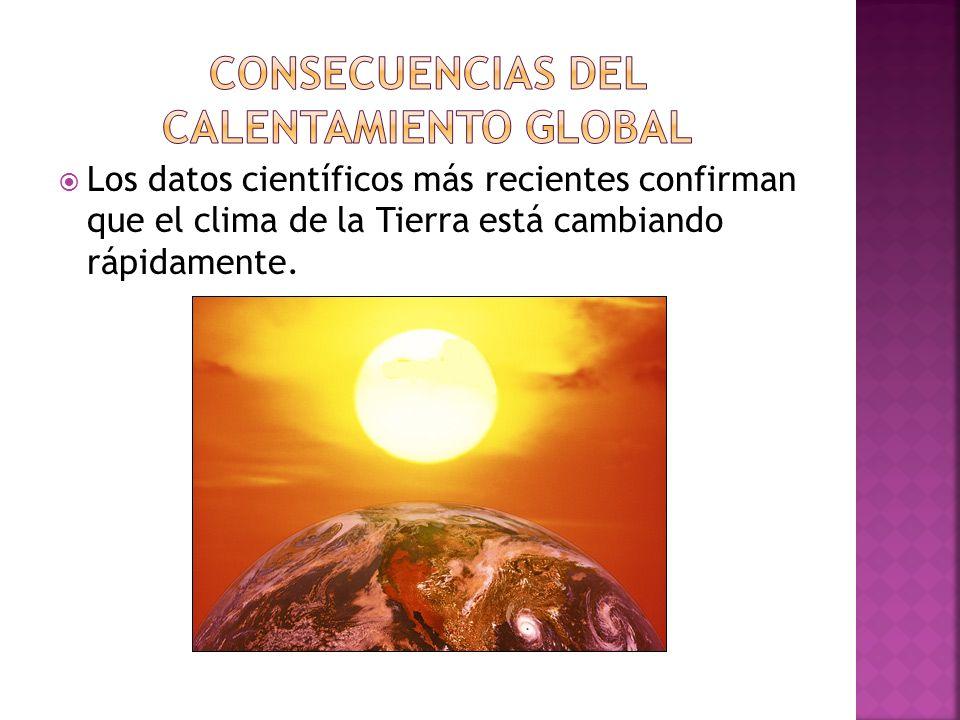 Los datos científicos más recientes confirman que el clima de la Tierra está cambiando rápidamente.