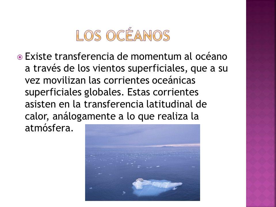 Existe transferencia de momentum al océano a través de los vientos superficiales, que a su vez movilizan las corrientes oceánicas superficiales globales.