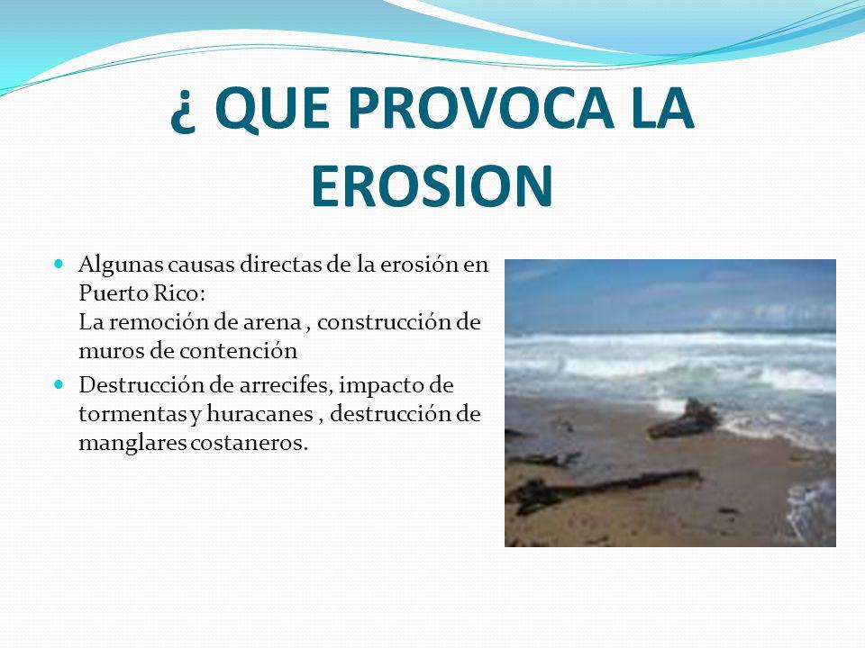 ¿ QUE PROVOCA LA EROSION Algunas causas directas de la erosión en Puerto Rico: La remoción de arena, construcción de muros de contención Destrucción d