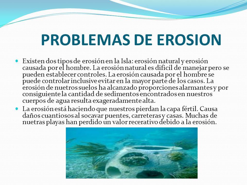 PROBLEMAS DE EROSION Existen dos tipos de erosión en la Isla: erosión natural y erosión causada por el hombre. La erosión natural es dificíl de maneja