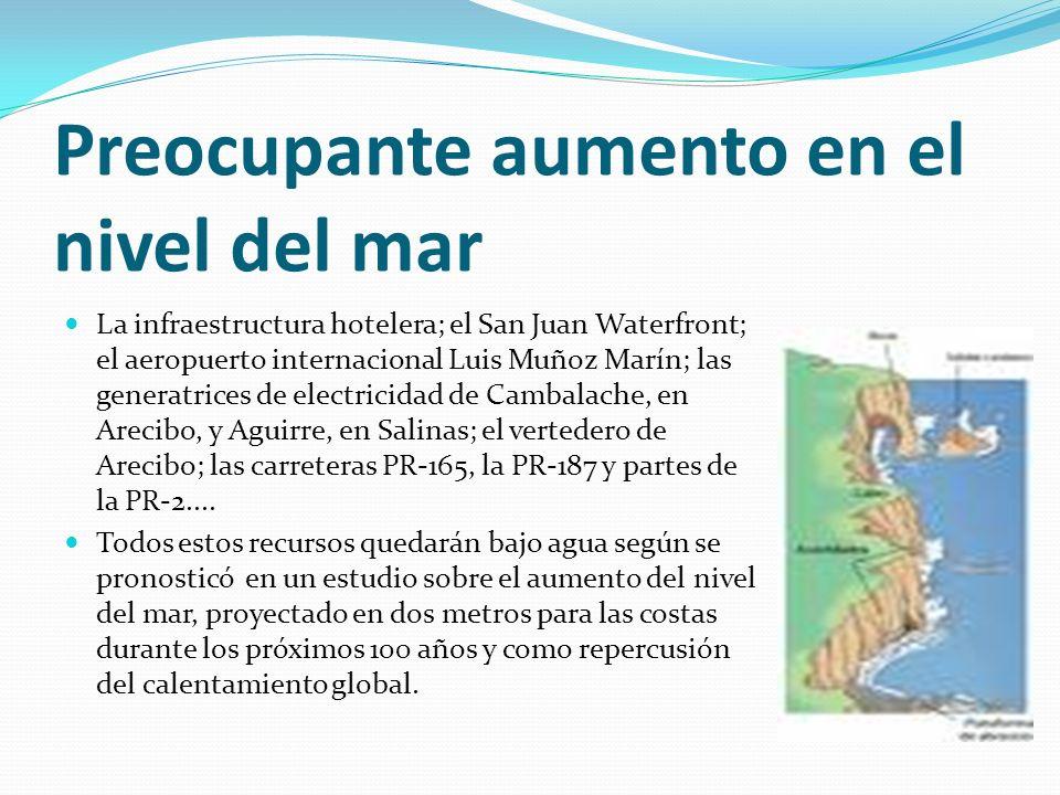 Preocupante aumento en el nivel del mar La infraestructura hotelera; el San Juan Waterfront; el aeropuerto internacional Luis Muñoz Marín; las generat
