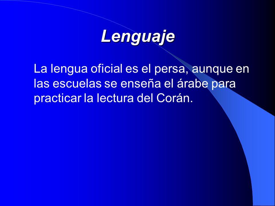 Lenguaje La lengua oficial es el persa, aunque en las escuelas se enseña el árabe para practicar la lectura del Corán.