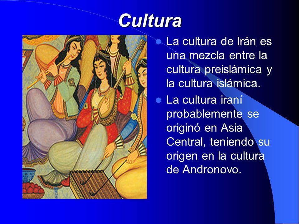 Cultura La cultura de Irán es una mezcla entre la cultura preislámica y la cultura islámica. La cultura iraní probablemente se originó en Asia Central