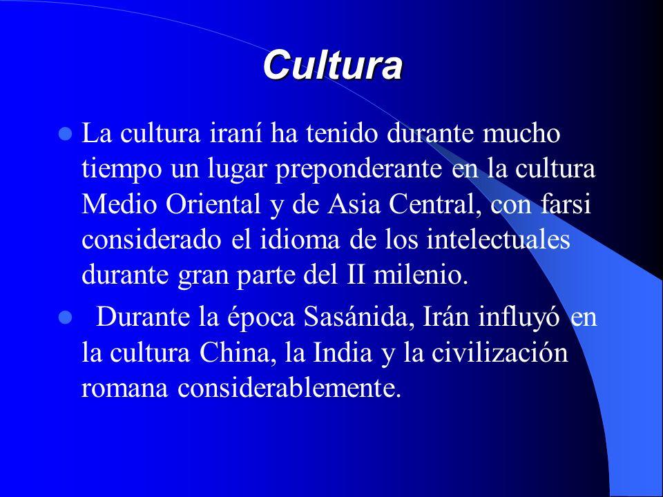 Cultura La cultura iraní ha tenido durante mucho tiempo un lugar preponderante en la cultura Medio Oriental y de Asia Central, con farsi considerado e