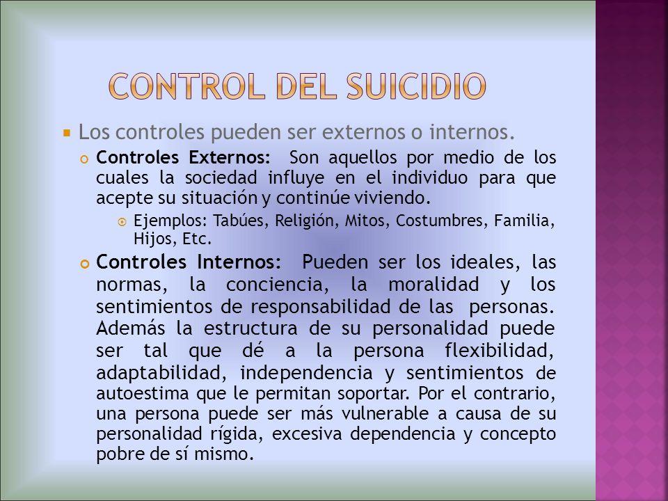 Los controles pueden ser externos o internos. Controles Externos: Son aquellos por medio de los cuales la sociedad influye en el individuo para que ac