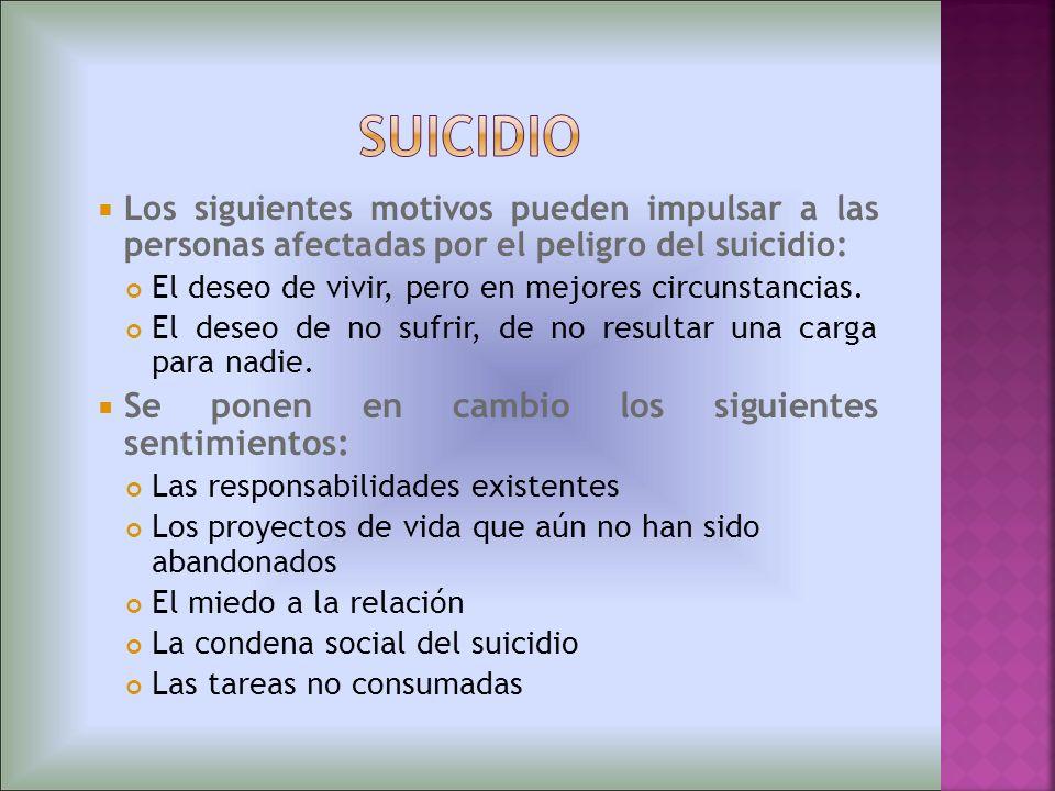 Los siguientes motivos pueden impulsar a las personas afectadas por el peligro del suicidio: El deseo de vivir, pero en mejores circunstancias. El des