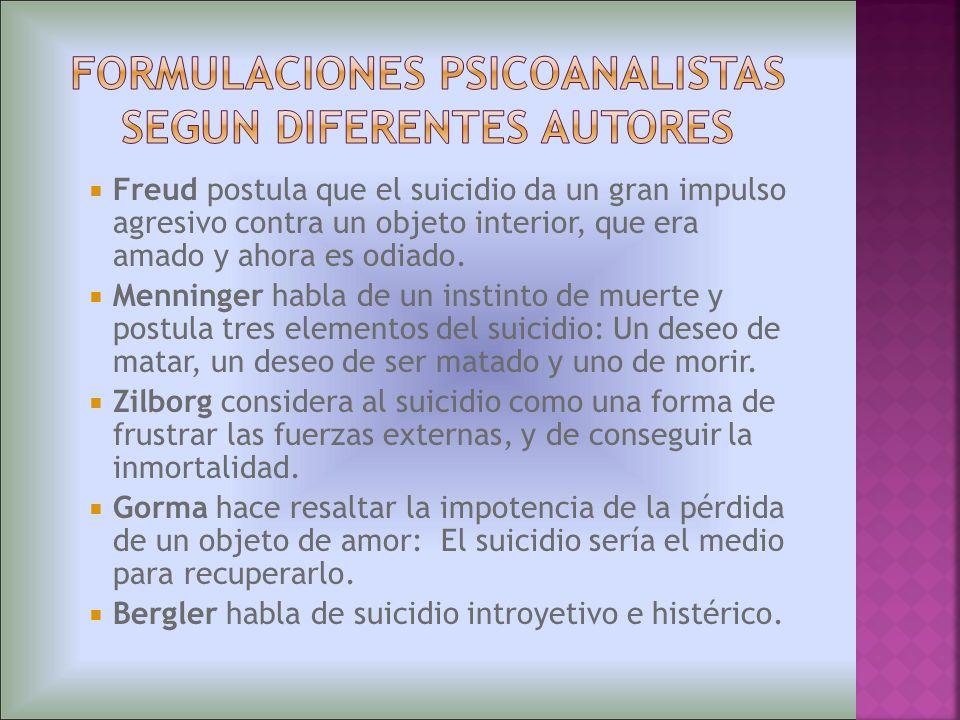 Freud postula que el suicidio da un gran impulso agresivo contra un objeto interior, que era amado y ahora es odiado. Menninger habla de un instinto d