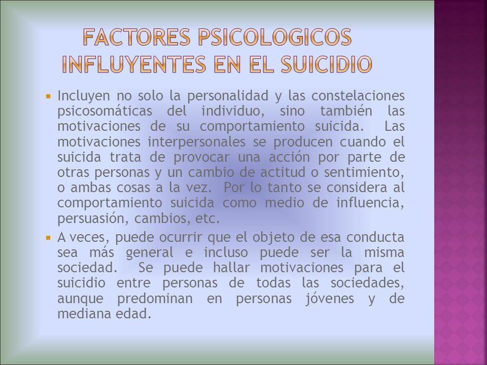 Incluyen no solo la personalidad y las constelaciones psicosomáticas del individuo, sino también las motivaciones de su comportamiento suicida. Las mo