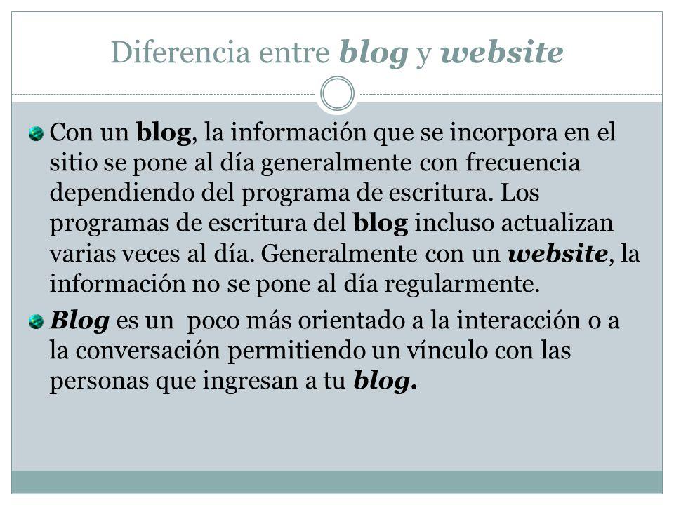 Diferencia entre blog y website Con un blog, la información que se incorpora en el sitio se pone al día generalmente con frecuencia dependiendo del programa de escritura.