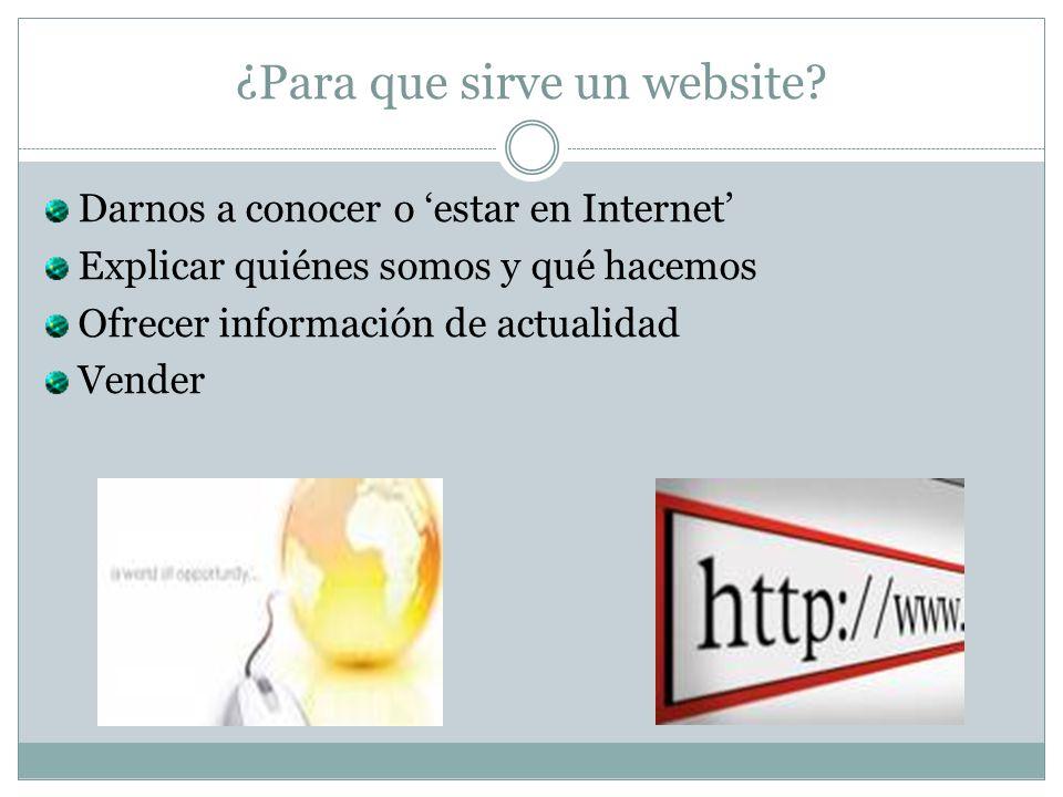 ¿Para que sirve un website? Darnos a conocer o estar en Internet Explicar quiénes somos y qué hacemos Ofrecer información de actualidad Vender