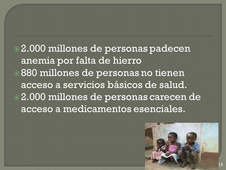 2.000 millones de personas padecen anemia por falta de hierro 880 millones de personas no tienen acceso a servicios básicos de salud. 2.000 millones d