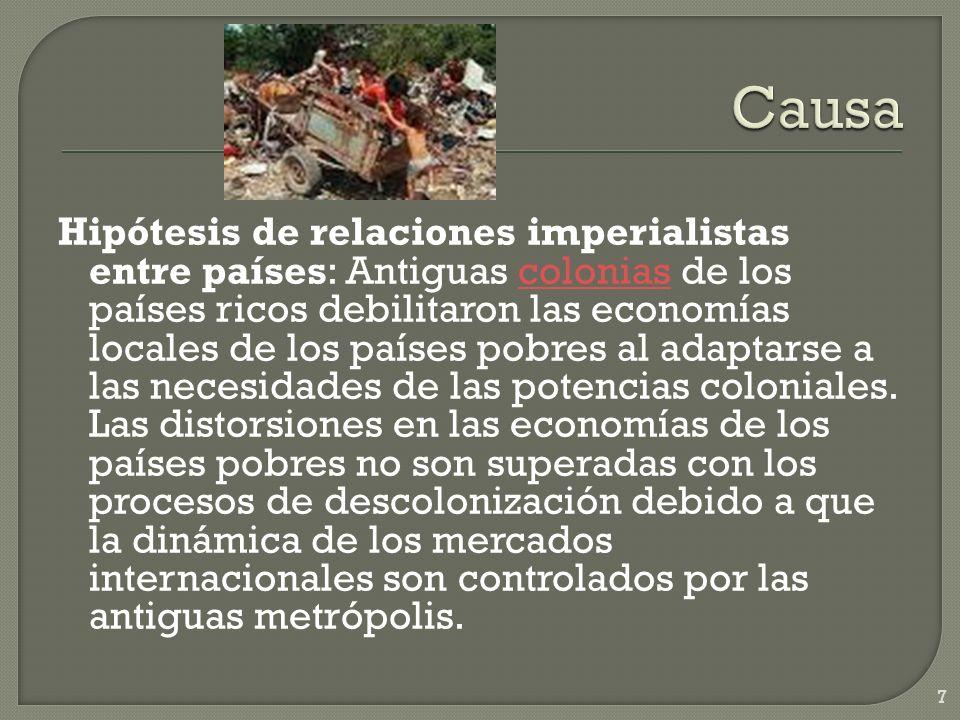Hipótesis de relaciones imperialistas entre países: Antiguas colonias de los países ricos debilitaron las economías locales de los países pobres al ad