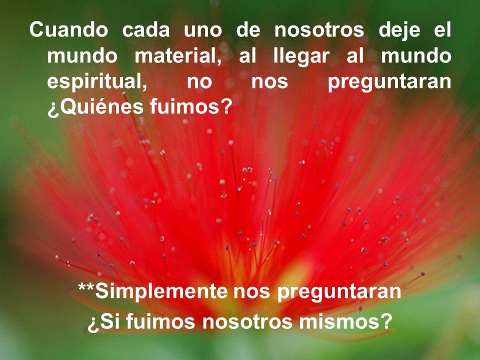 Cuando cada uno de nosotros deje el mundo material, al llegar al mundo espiritual, no nos preguntaran ¿Quiénes fuimos? **Simplemente nos preguntaran ¿