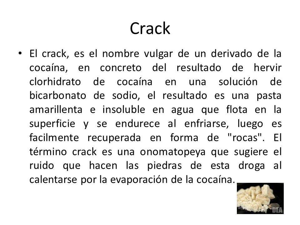 Crack El crack, es el nombre vulgar de un derivado de la cocaína, en concreto del resultado de hervir clorhidrato de cocaína en una solución de bicarb