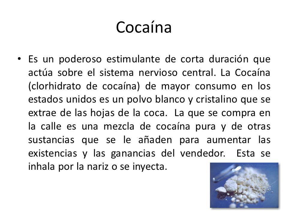 Cocaína Es un poderoso estimulante de corta duración que actúa sobre el sistema nervioso central. La Cocaína (clorhidrato de cocaína) de mayor consumo