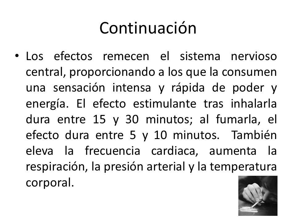 Continuación Los efectos remecen el sistema nervioso central, proporcionando a los que la consumen una sensación intensa y rápida de poder y energía.