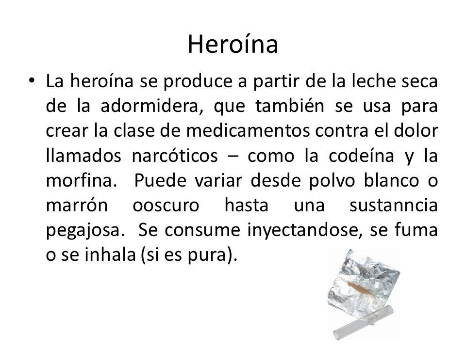 Heroína La heroína se produce a partir de la leche seca de la adormidera, que también se usa para crear la clase de medicamentos contra el dolor llama