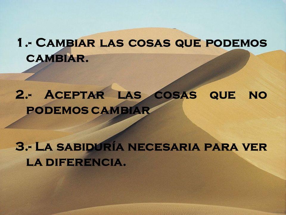 1.- Cambiar las cosas que podemos cambiar. 2.- Aceptar las cosas que no podemos cambiar 3.- La sabiduría necesaria para ver la diferencia.
