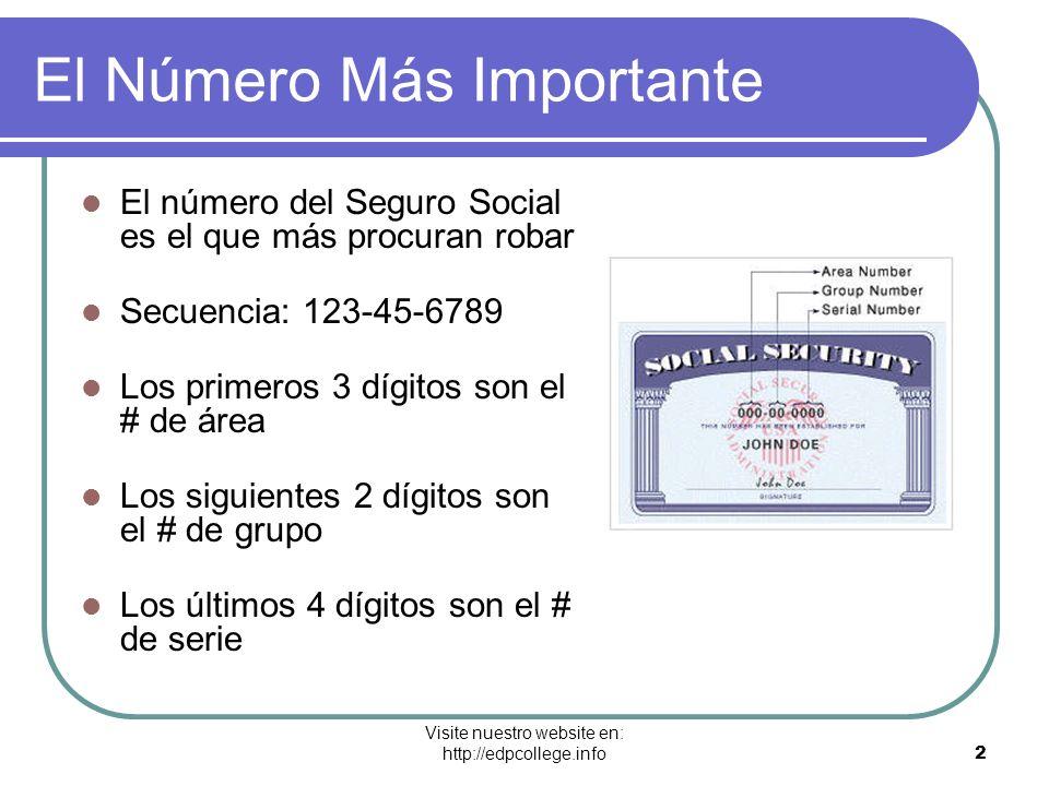 Visite nuestro website en: http://edpcollege.info 2 El Número Más Importante El número del Seguro Social es el que más procuran robar Secuencia: 123-4