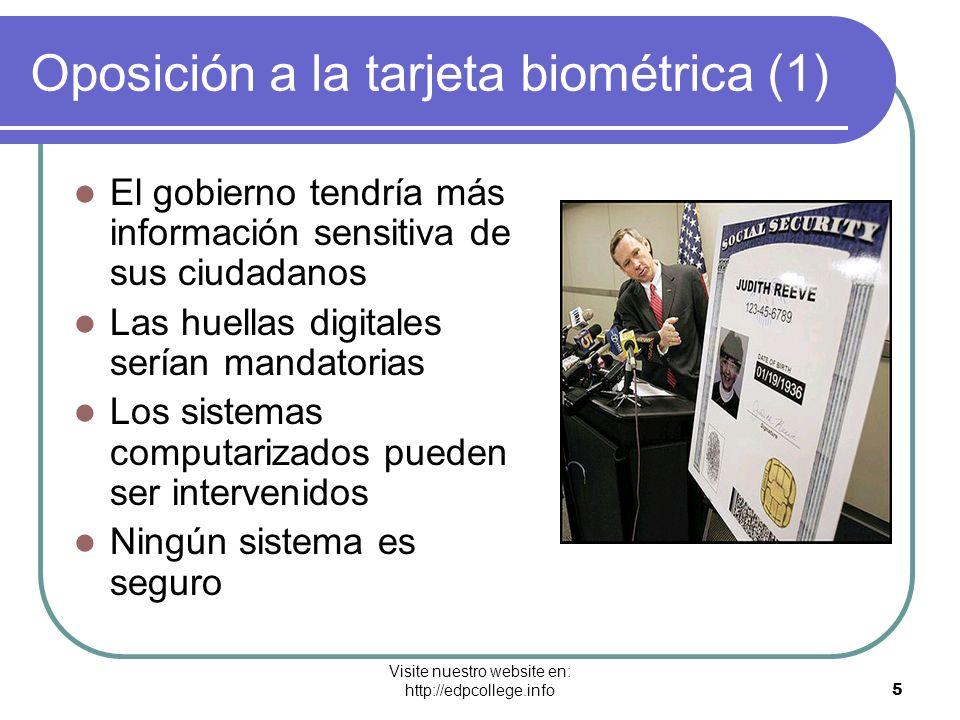 Visite nuestro website en: http://edpcollege.info 5 Oposición a la tarjeta biométrica (1) El gobierno tendría más información sensitiva de sus ciudada