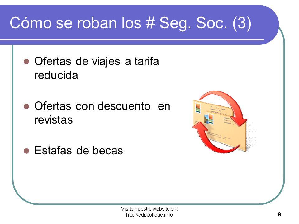 Visite nuestro website en: http://edpcollege.info 9 Cómo se roban los # Seg. Soc. (3) Ofertas de viajes a tarifa reducida Ofertas con descuento en rev