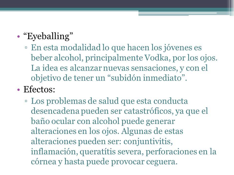 Eyeballing En esta modalidad lo que hacen los jóvenes es beber alcohol, principalmente Vodka, por los ojos. La idea es alcanzar nuevas sensaciones, y
