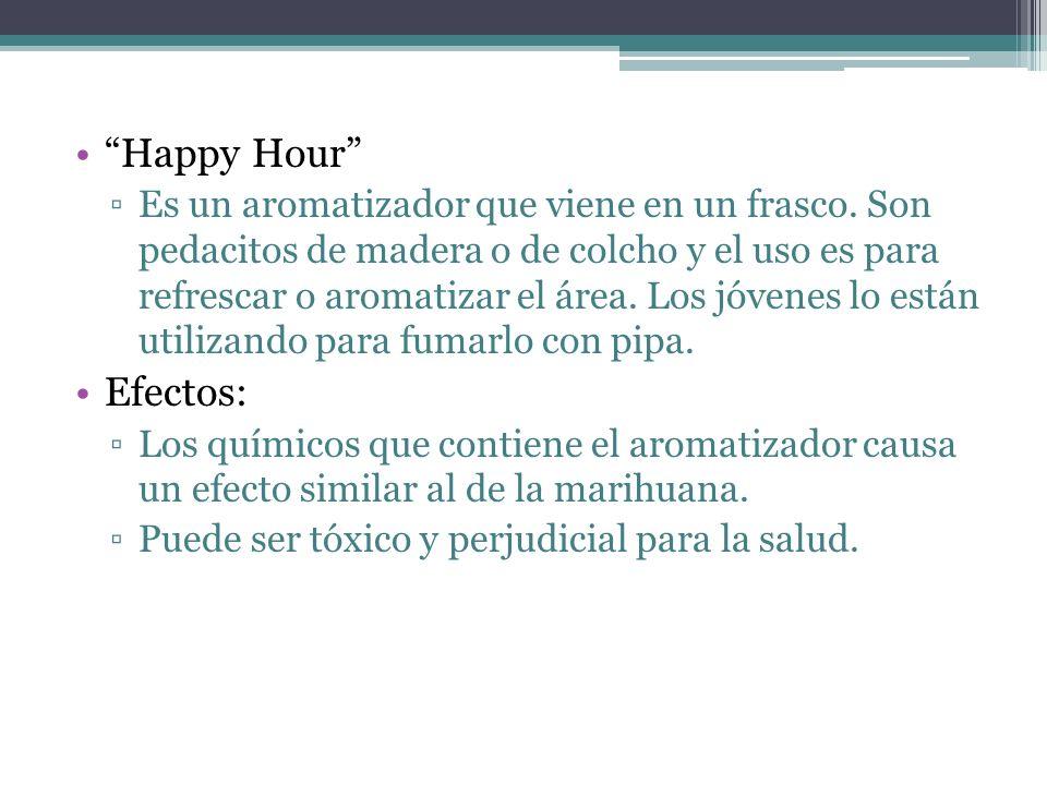 Happy Hour Es un aromatizador que viene en un frasco. Son pedacitos de madera o de colcho y el uso es para refrescar o aromatizar el área. Los jóvenes