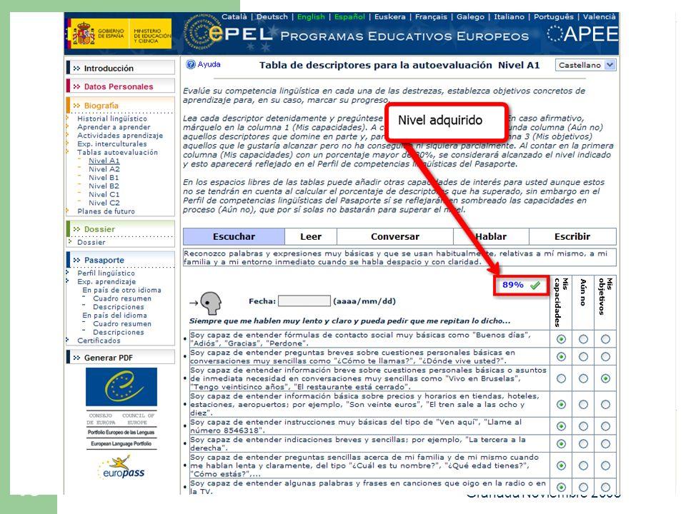 Portfolio Europeo de las Lenguas. Granada Noviembre 2008 18 ePEL El Portfolio Electrónico (ePEL +14)