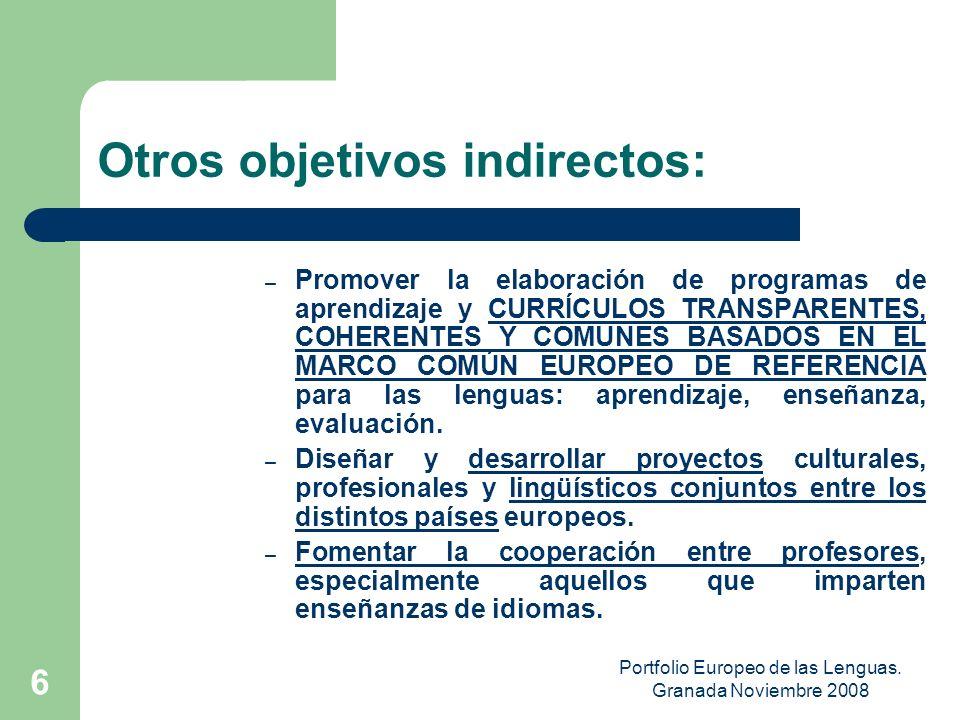Portfolio Europeo de las Lenguas. Granada Noviembre 2008 5 Utilidad del Portfolio Ayuda al titular Ayuda a profesores e instituciones educativas Ayuda