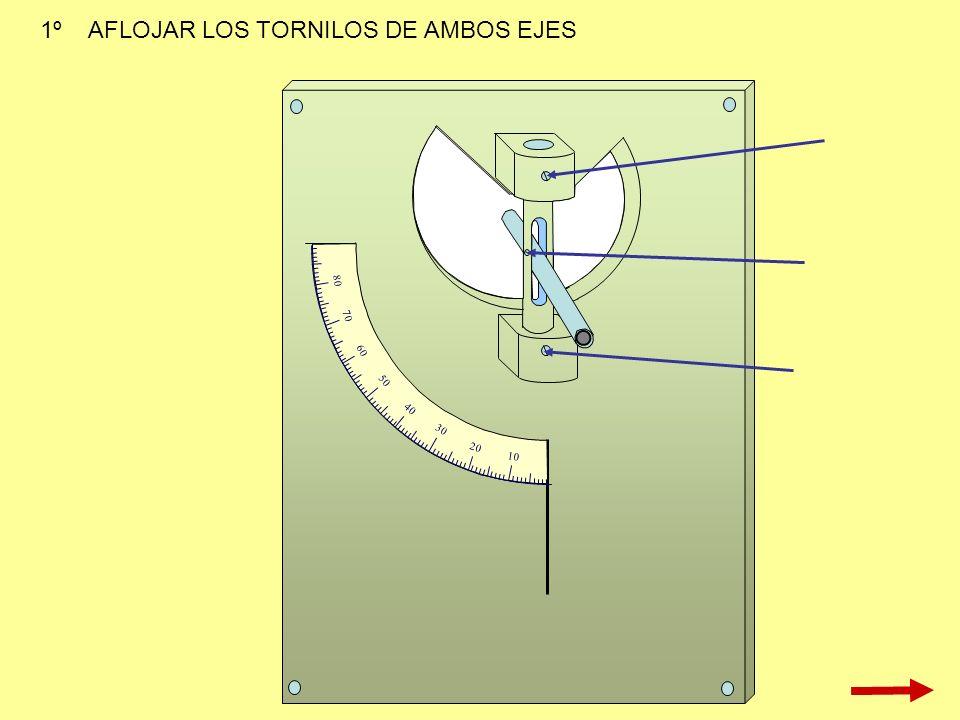 10 20 30 40 50 60 70 80 1º AFLOJAR LOS TORNILOS DE AMBOS EJES