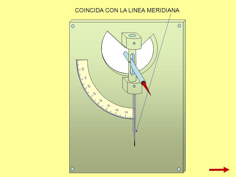 10 20 30 40 50 60 70 80 COINCIDA CON LA LINEA MERIDIANA