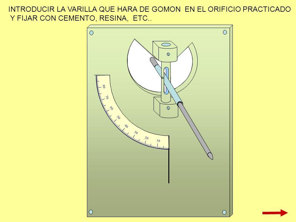 10 20 30 40 50 60 70 80 INTRODUCIR LA VARILLA QUE HARA DE GOMON EN EL ORIFICIO PRACTICADO Y FIJAR CON CEMENTO, RESINA, ETC..