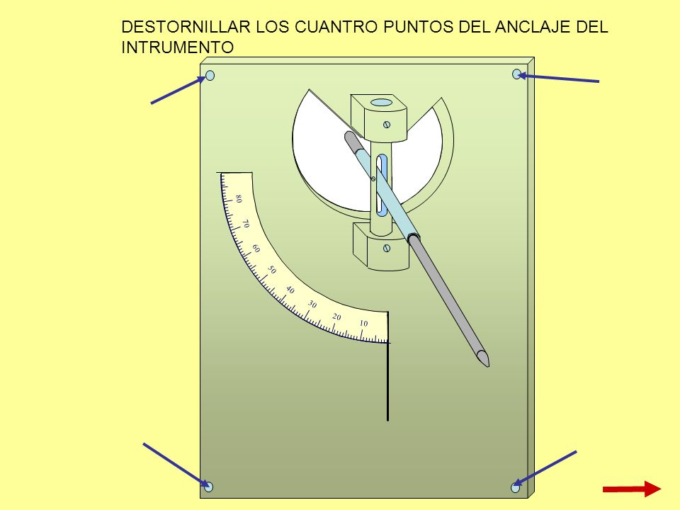 10 20 30 40 50 60 70 80 DESTORNILLAR LOS CUANTRO PUNTOS DEL ANCLAJE DEL INTRUMENTO