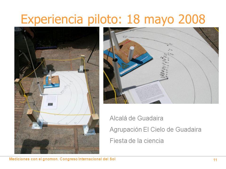 Mediciones con el gnomon. Congreso Internacional del Sol 11 Experiencia piloto: 18 mayo 2008 Alcalá de Guadaira Agrupación El Cielo de Guadaira Fiesta
